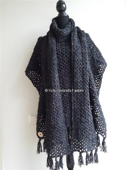 46ee11b09d6 PATR0980 - Poncho + sjaal - Xyra Creaties