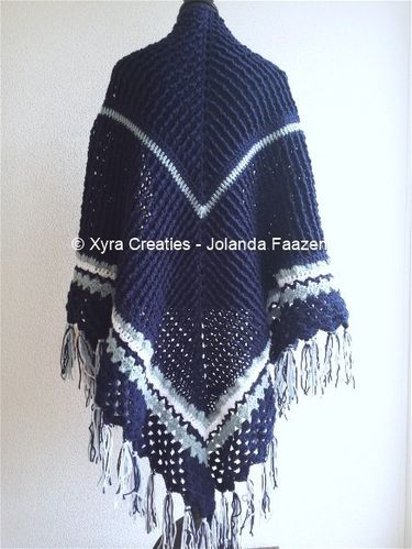 PATR1058 - Wrap / shawl with ridges and beautiful edge
