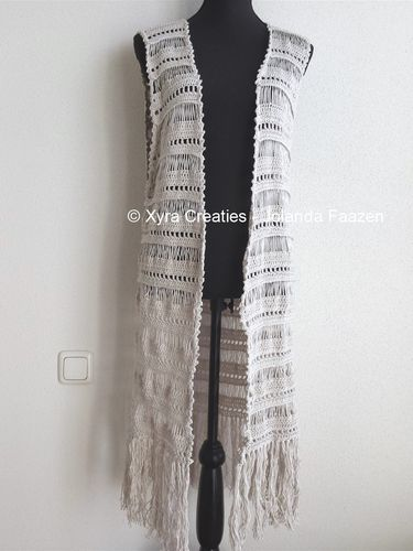 PATR1075 - Long gilet / vest without sleeves - Boho / Ibiza style