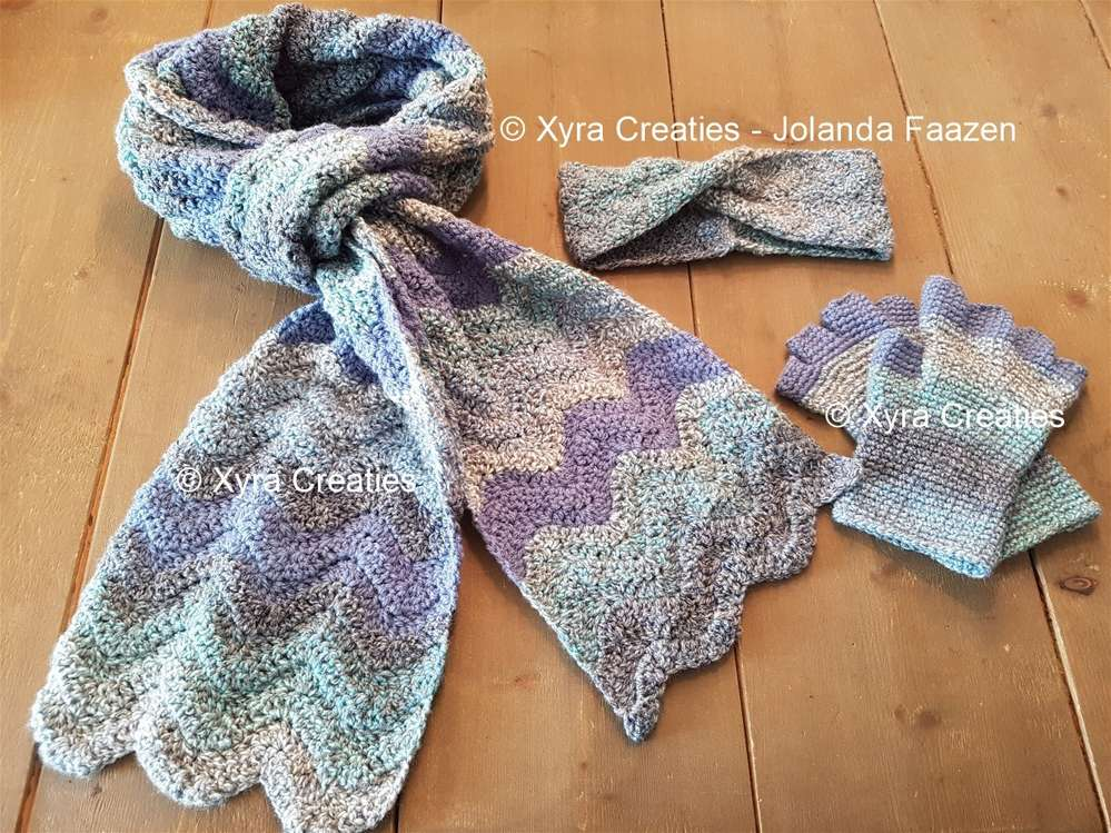 Patr1124 3 Delige Set Sjaal Haarband Vingerloze Handschoenen